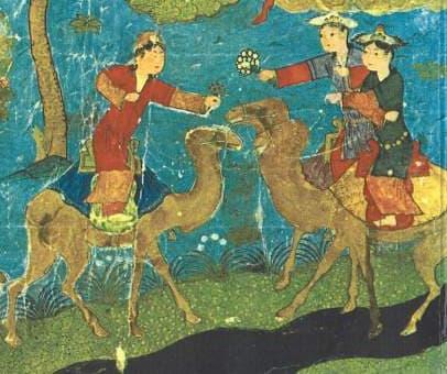 Houris sur des chameaux au paradis.