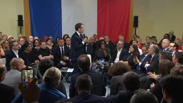 Emmanuel Macron lors d'un débat avec les élus franciliens organisé à Evry-Courcouronnes, le 4 février 2019
