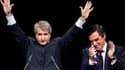 """Francois Fillon (à droite), à Strasbourg, lors d'un meeting avec Philippe Richert, candidat UMP en région Alsace. Le Premier ministre a mis en garde jeudi soir les électeurs contre les """"alliances de circonstances"""" entre le Parti socialiste et les écologis"""