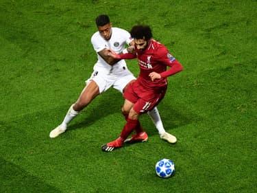 Presnel Kimpembe et Mohamed Salah, à Paris le 28 novembre 2018