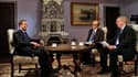 Le Premier ministre russe Dmitri Medvedev (à gauche) a condamné le soutien de Paris à l'opposition syrienne et accusé l'Union européenne d'indécision face à la crise de la dette, dans une interview accordée avant sa visite en France, ce lundi. /Photo pris