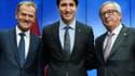 Donald Tusk, le président du Conseil européen, en compagnie du premier ministre canadien Justin Trudeau et du président de la Commission européenne Jean-Claude Juncker.