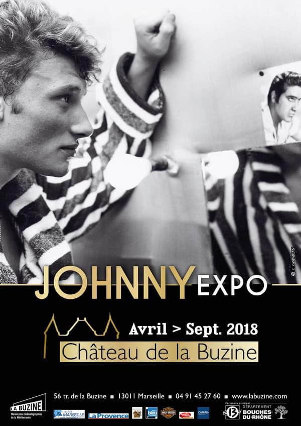 L'affiche de l'exposition consacrée à Johnny Hallyday à Marseille.