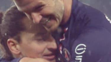 Zlatan Ibrahimovic et David Beckham lors du match PSG vs OM de dimanche soir