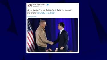 Kevin Costner et Pete Buttigieg sur scène dimanche, dans l'Iowa