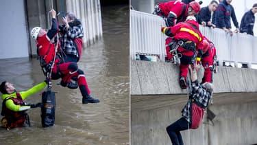 Les pompiers de Paris sont intervenus au secours d'un SDF qui avait installé son habitation de fortune sous un mont de Boulogne-Billancourt. La montée des eaux très rapide l'avait pris au piège.