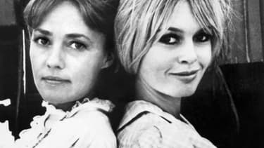 """Jeanne Moreau et Brigitte Bardot sur le tournage du film """"Viva Maria!"""" au Mexique en 1965"""