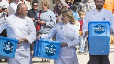 Les chefs Philippe Etchebest, Ghislaine Arabian, Cyril Lignac et Yves Camdeborde, s'engagent pour promouvoir le made in France dans la cuisine.