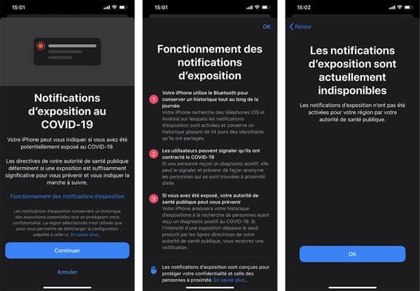 La dernière mise à jour iOS propose des notifications d'exposition au Covid-19.