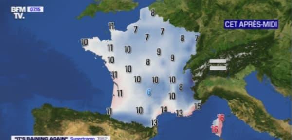 Les températures de ce dimanche après-midi