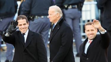 Joe Biden et ses deux fils, Beau et Hunter en janvier 2009, lors de l'investiture de Barack Obama.