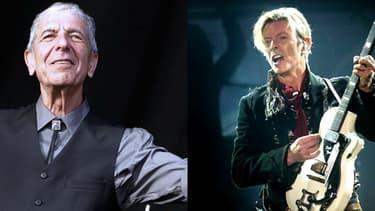 Leonard Cohen, le 20 juillet 2008 et David Bowie en 2003