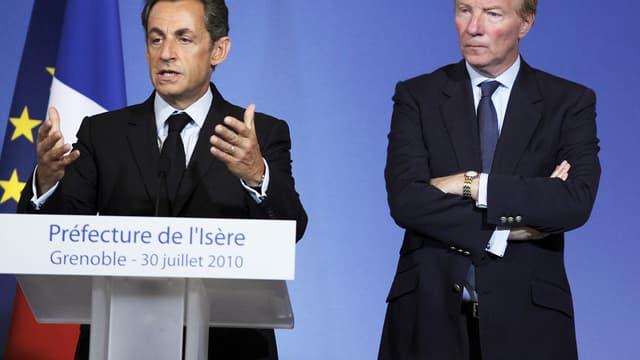 Nicolas Sarkozy et Brice Hortefeux à Grenoble, le 30 juillet 2010