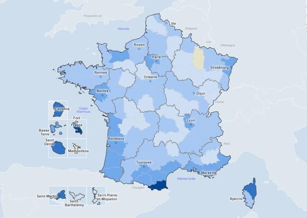 Carte du taux d'incidence pour 100.000 habitants par département sur sept jours (13 au 7 juillet)