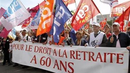 Manifestation contre la réforme des retraites, à Lyon, fin septembre. Les syndicats français se réunissent ce lundi soir pour adapter leur stratégie face à la fermeté du gouvernement sur le réforme des retraites, qui fera l'objet d'une âpre bataille à par
