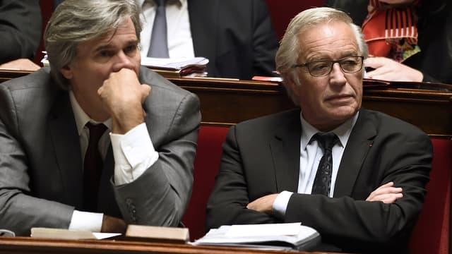 Stéphane Le Foll (à gauche) et François Rebsamen, alors ministres de l'Agriculture et du Travail, à l'Assemblée nationale le 22 octobre 2014.