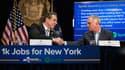 Une poignée de main de 11 millions de dollars entre Andrew Cuomo, gouverneur de l'état de New York, et Horacio Gutierez, General Counsel de Spotify.