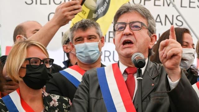 Jean-Luc Mélenchon, le patron de la France insoumise, le 5 juin 2021 à Livet-et-Gavet (Isère)