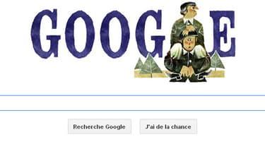 """Le Doodle, consacré à Gérard Oury montre le célèbre duo Bourvil-de Funès, campé dans """"La Grande vadrouille"""" (1966)."""