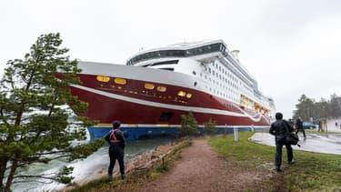 """Le ferry """"Grace"""" de la compagnie finlandaise Viking Line échoué à Mariehamn, l'une des îles Åland en Finlande, le 21 novembre 2020"""