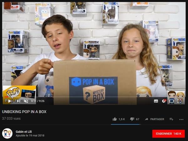 Unboxing sur la chaîne de Gabin et Lili - Pop in a box est une entreprise