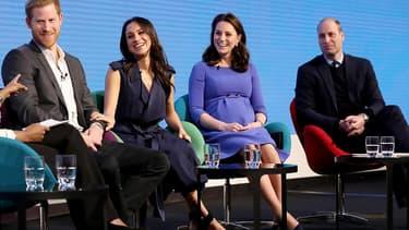 Le prince Harry, Meghan Markle, Kate Middleton et le prince William, le 28 février 2018
