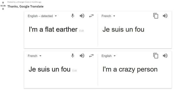 "La traduction de ""flat earther"" sur Google Translate."