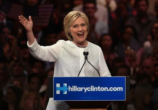 Hillary Clinton lors de  son discours de victoire, le 8 juin 2016 à Brooklyn