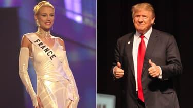 Elodie Gossuin lors de l'élection de Miss Univers en 2001 / Donald Trump