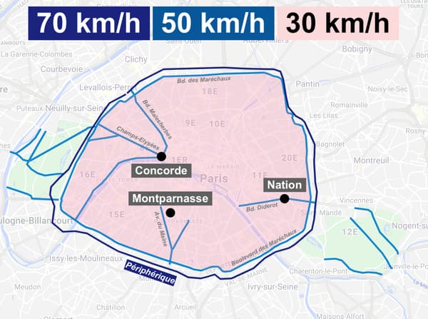 Carte des axes qui restent à 50 km/h