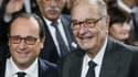 François Hollande et Jacques Chirac le 21 novembre 2014 au musée du Quai Branly à Paris.