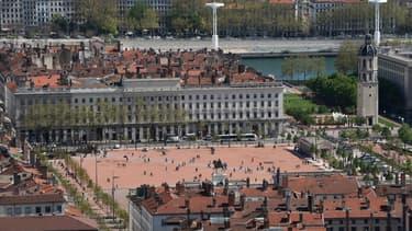 La place Bellecour à Lyon où ont eu lieu les affrontements entre manifestants et forces de l'ordre