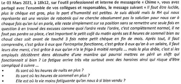 Un extrait de la lettre de licenciement envoyée le 10 mai au salarié.