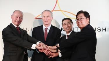 Thierry Bolloré et Jean-Dominique Senard, directeur général et président de Renault, Hiroto Saikawa, directeur général de Nissan et Osamu Masuko, celui de Mitsubishi.