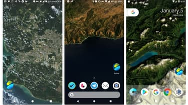 L'application Skyline permet d'afficher une carte en fond d'écran