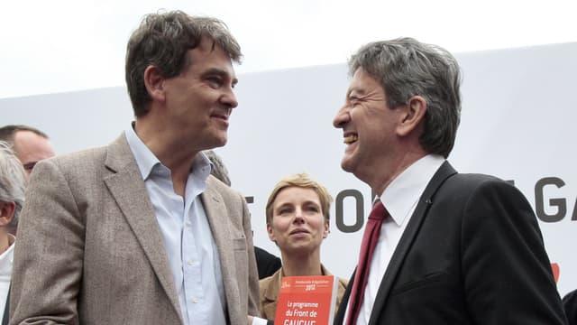 Arnaud Montebourg et Jean-Luc Mélenchon en 2011 durant la primaire socialiste