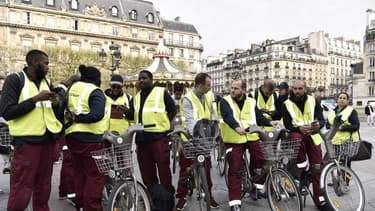Les salariés de Cyclocity lors d'une manifestation en avril