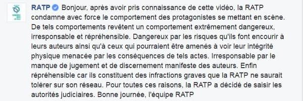 La RATP a rappelé les auteurs de la vidéo à l'ordre.