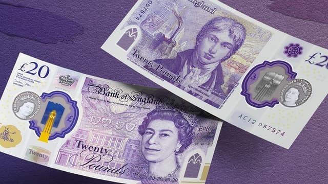 Le nouveau billet de 20 livres sterling, le 10 octobre 2019 (photo d'illustration)