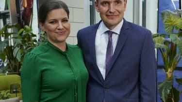 Le président réélu Gudni Johannesson et sa femme Eliza Reid, le 27 juin 2020 à Reykjavic, en Islande