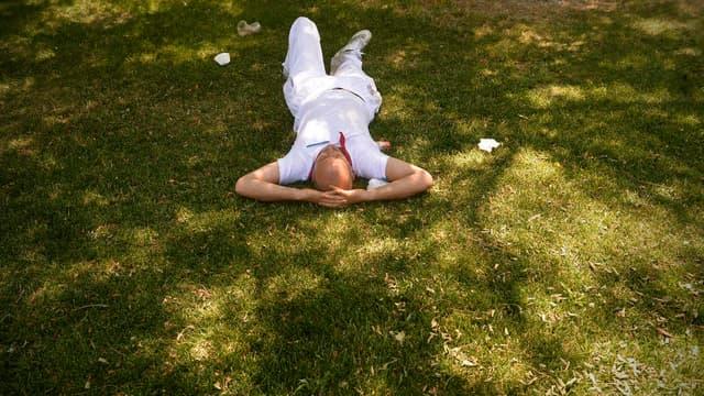 Un homme faisant la sieste dans un parc (photo d'illustration).