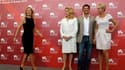 """François Ozon, entouré de ses comédiennes Catherine Deneuve (2e à gauche), Judith Godreche (à droite) et Karin Viard (à gauche) lors de la séance photo de """"Potiche"""". Catherine Deneuve et Gérard Depardieu se partagent l'affiche du dernier long métrage de F"""
