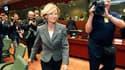 La ministre de l'Economie espagnole, Elena Salgado, dont le pays assure actuellement la présidence de l'Union européenne. Les ministres des Finances des Vingt-Sept sont réunis à Bruxelles pour formaliser un mécanisme européen de gestion de crise de grande