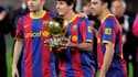 Andrés Iniesta, Lionel Messi et Xavi