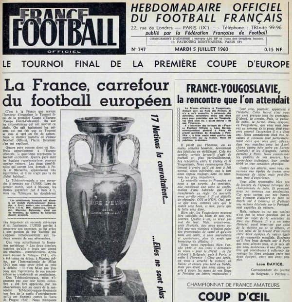 La Une de France Football Officiel, organe officiel de la FFF, à la veille de l'ouverture de la phase finale de l'Euro 1960