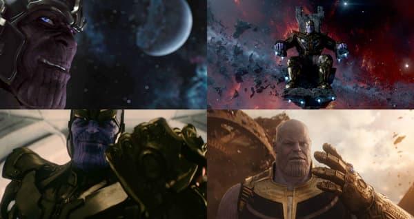 Thanos dans Avengers (Damion Poitier), Les Gardiens de la Galaxie, Avengers : L'Ère d'Ultron et Avengers: Infinity War (Josh Brolin).