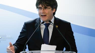 Carles Puigdemont lors de la conférence de presse annonçant sa candidature aux élections européennes le 10 avril 2019 à Bruxelles.