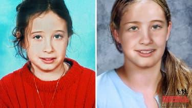 Portrait original, puis vieilli de 7 ans d'Estelle Mouzin, disparue en 2003.
