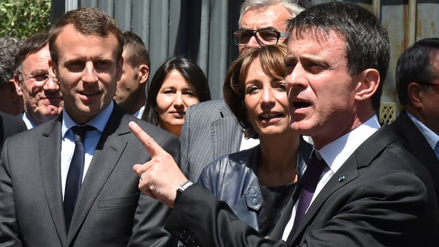 Emmanuel Macron, Marisol Touraine et Manuel Valls lors d'un déplacement en Ardèche pour un comité interministériel sur la ruralité, le 20 mai 2016.