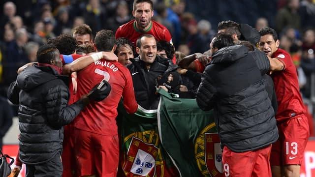 La joie des Portugais face à la Suède